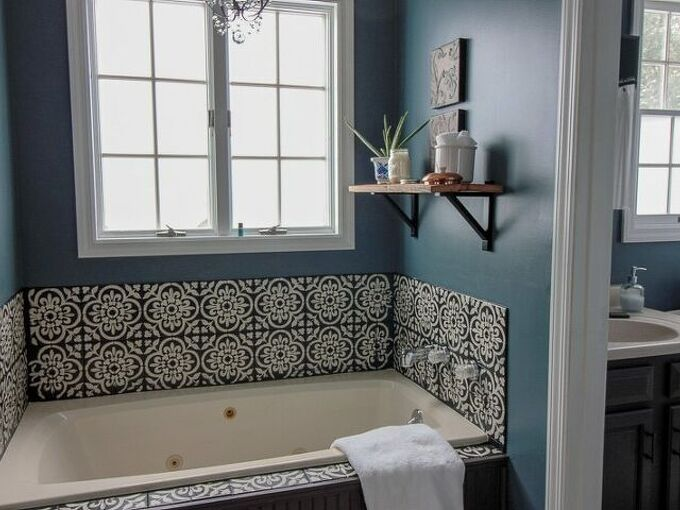 stencil and seal your outdated bathroom tile, This tub makes a statement