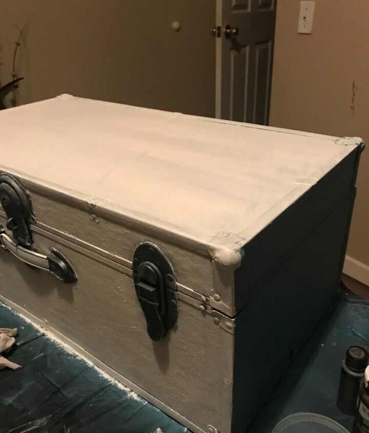 trunk update with chalk and salt wash paint