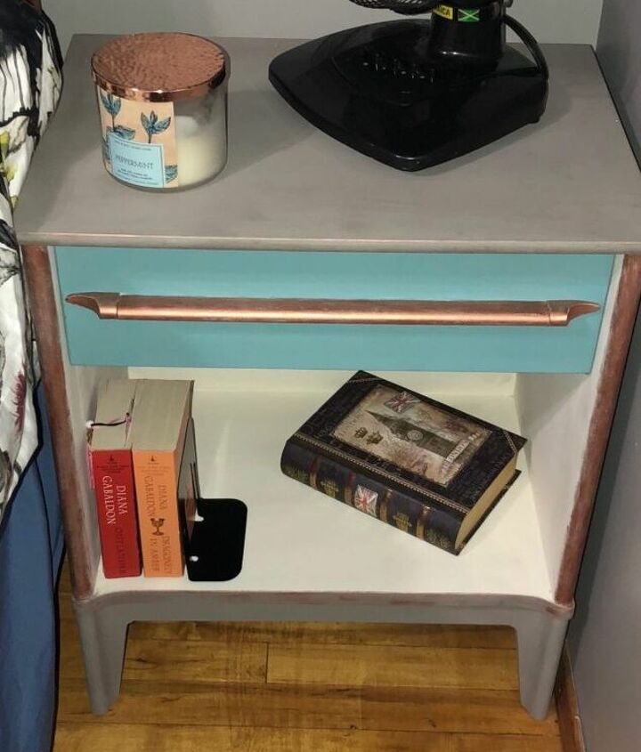 mcm sidetable with peeling old stain got a big pop with colour