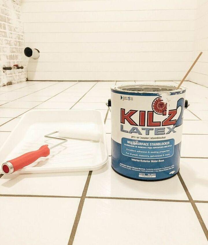 diy stencil painted tile floors
