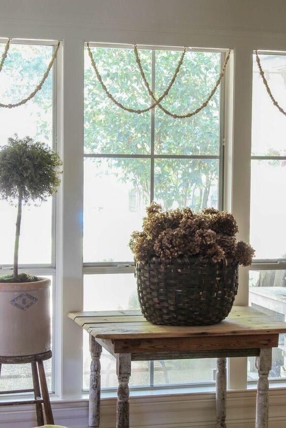 diy woodbead window garland