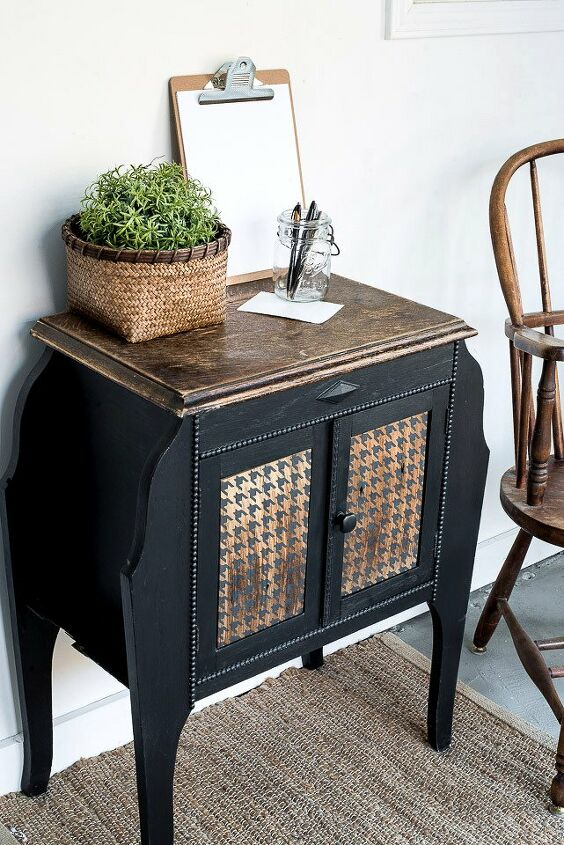 a funky houndstooth win for a vintage side table makeover