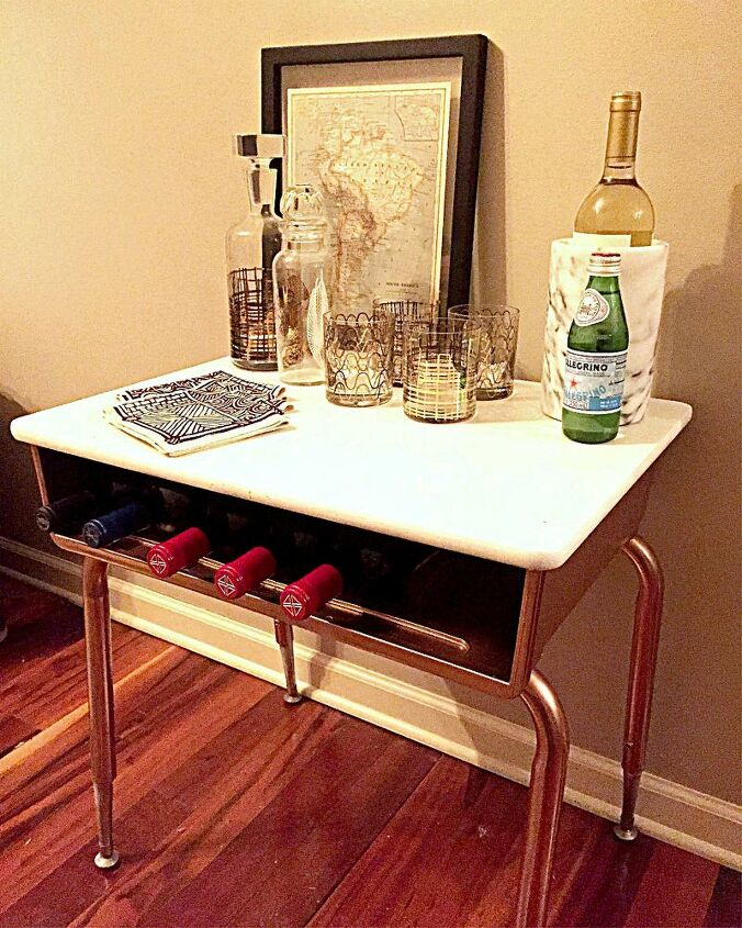 makeover an old school desk into a modern mini bar