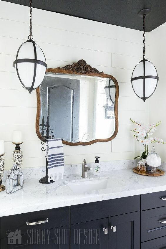 dated bathroom to black white beauty