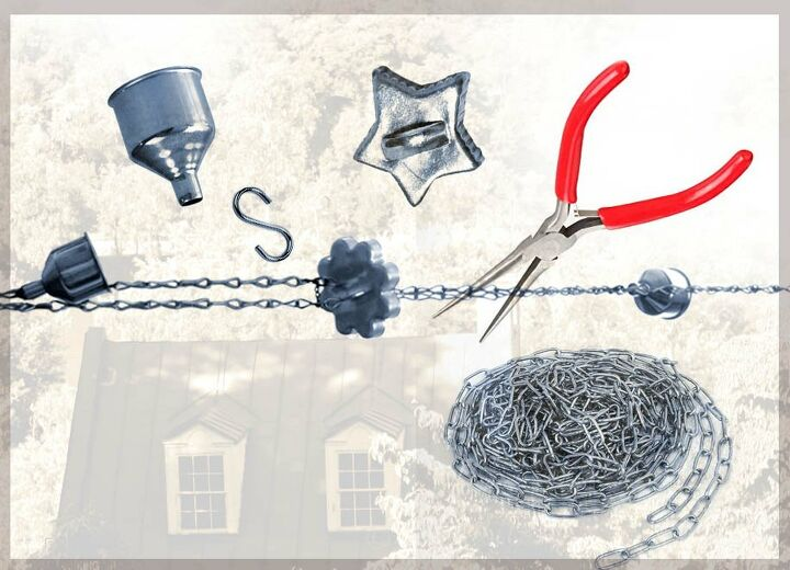 rain chain with funnels and vintage cookie cutters no drill needed