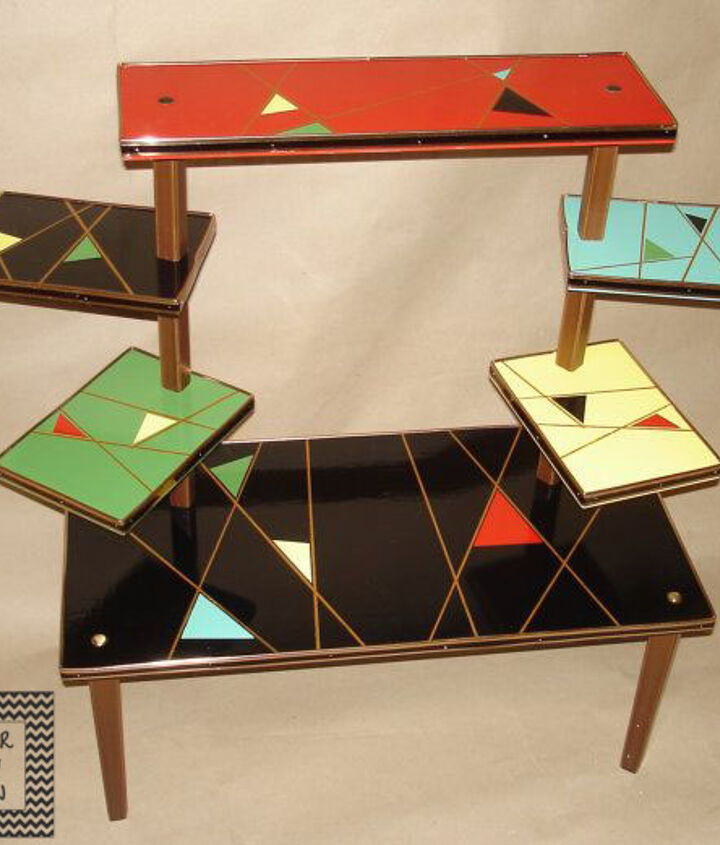 s mid century furniture makeovers, Mid Century Step Tables Get a Geometric Mid C