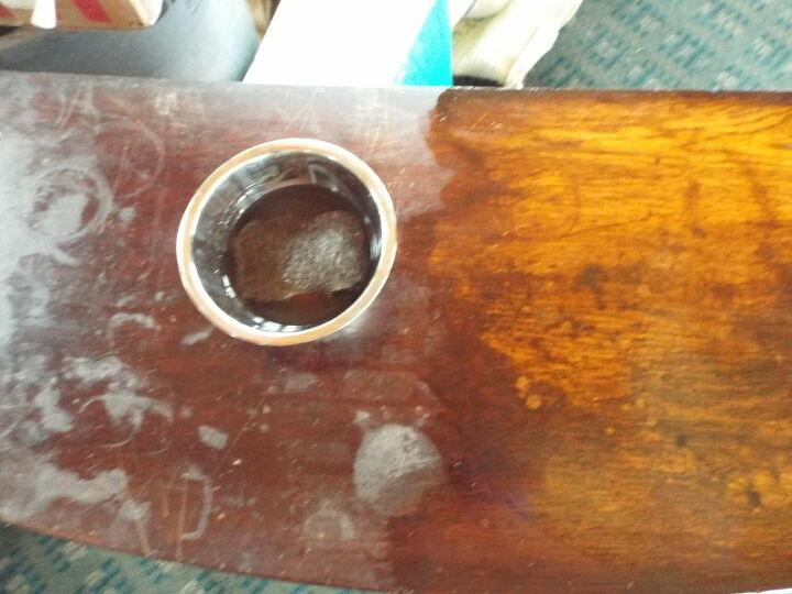 antique oak side table restored to beauty from a beast