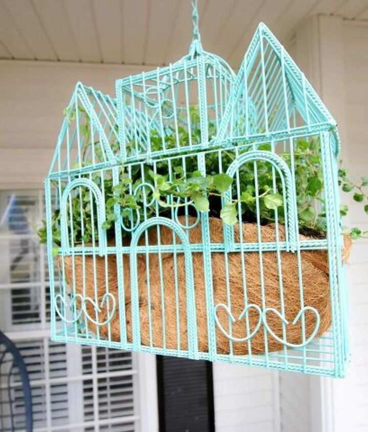 bird cage planter upcycle