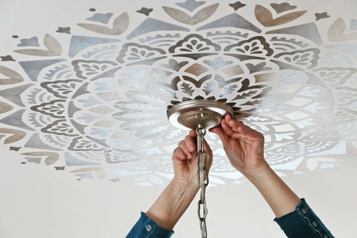 how to create a statement ceiling using mandala stencils
