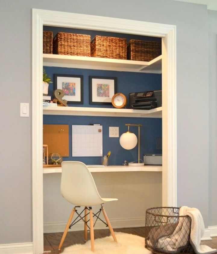 s diy home projects, Turn Your Closet into a Mini Home Office