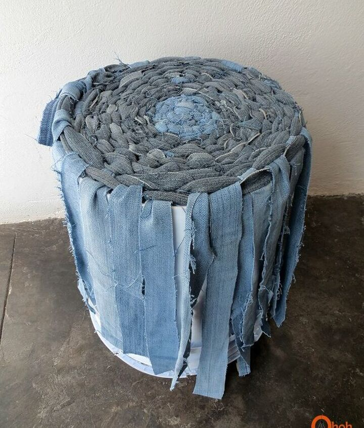 how to make a weaved basket with old denims