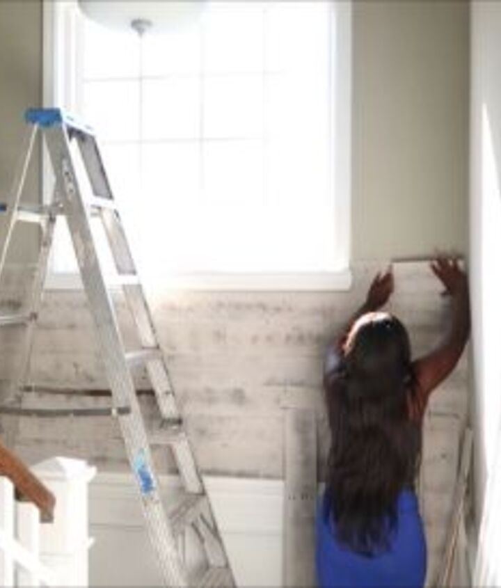 s easy diy projects, Peel and Stick Your Way to a Wood Covered Wall