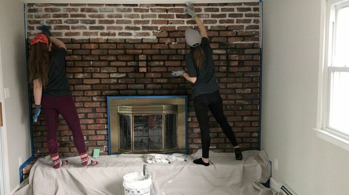 how to paint a german schmear fireplace makeover diy | hometalk