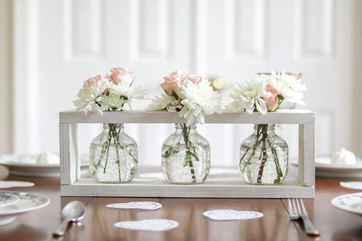 farmhouse wood framed flower vase centerpiece