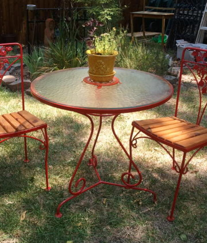 s best diy patio furniture projects, Get That Vintage Bistro Look Just Five Cans of Rustoleum Later
