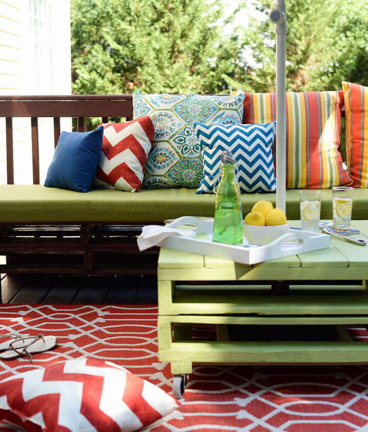 s best diy patio furniture projects, Turn Delivery Pallets Into Vibrant Outdoor Social Spaces