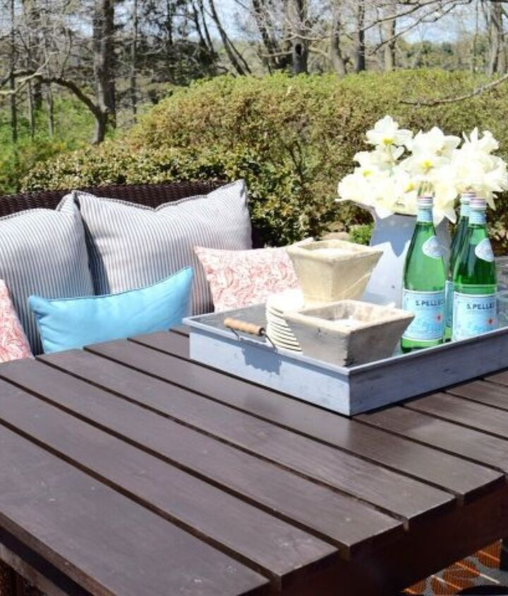 s best diy patio furniture projects, Six Seater DIY Wooden Patio Table Built in Three Hours