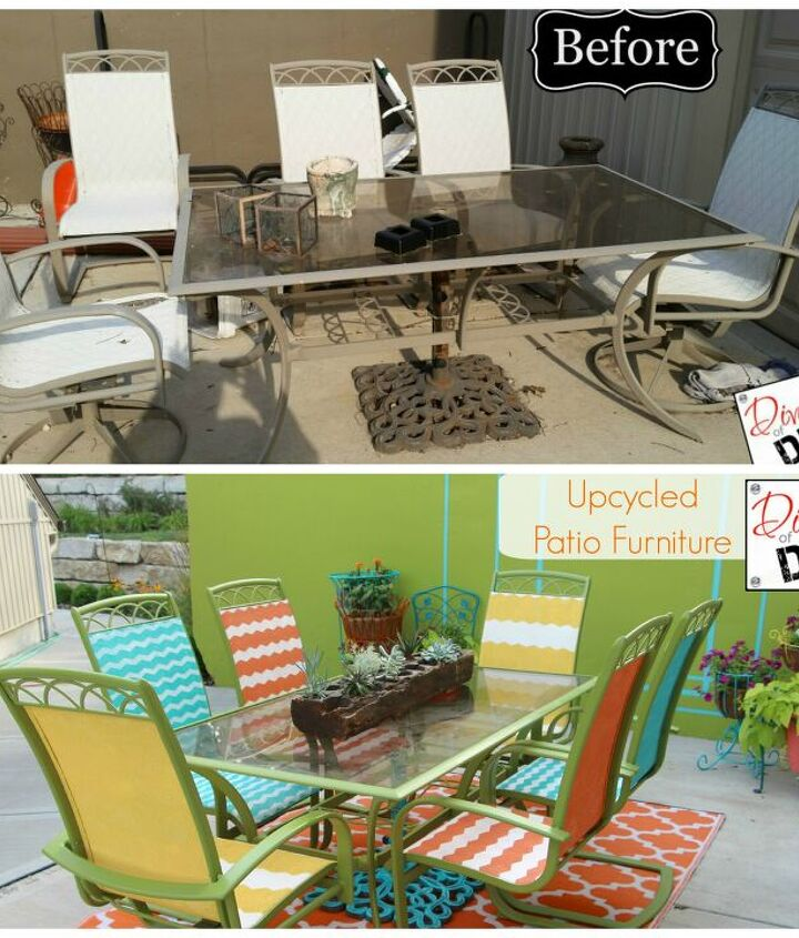 s best diy patio furniture projects, This Dazzling DIY Patio Furniture Required Paint and a Little Elbow Grease