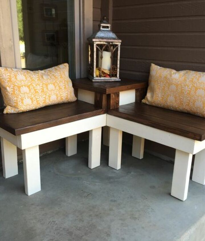 s best diy patio furniture projects, DIY Corner Bench With Built In Table