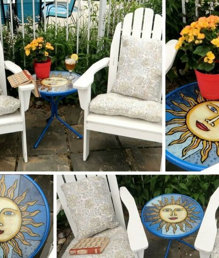 s best diy patio furniture projects, Creating a Stained Glass Feature Out of Patio Furniture Clearance Items