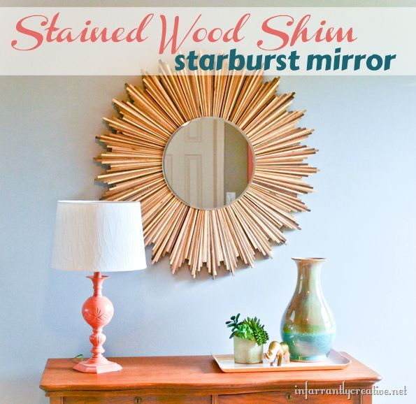 s 18 ways to stain wood, DIY Shimmering Stained Wood Starburst Mirror