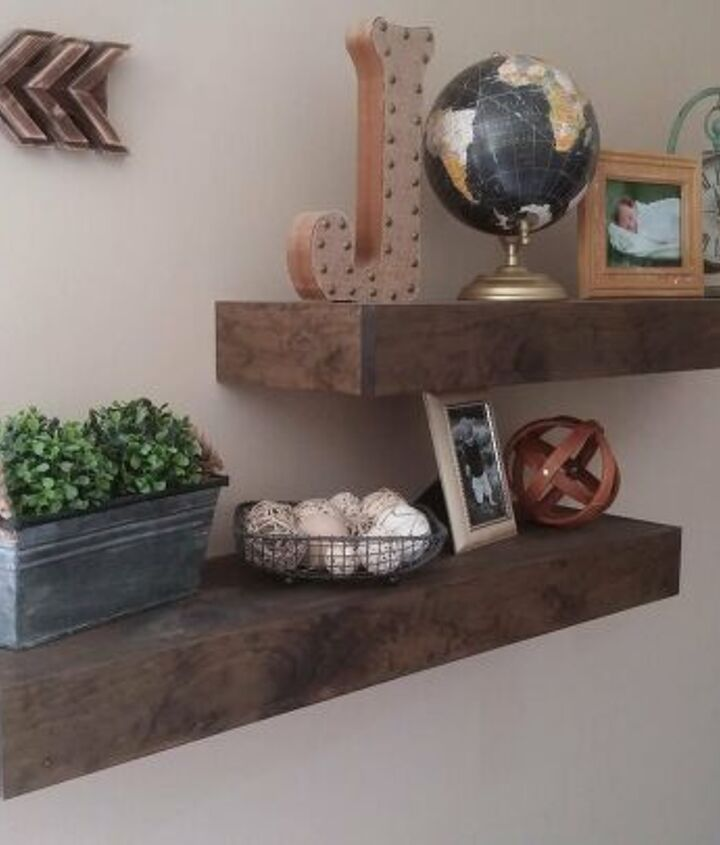 s diy floating shelves ideas, Geometric Floating Wood Shelves