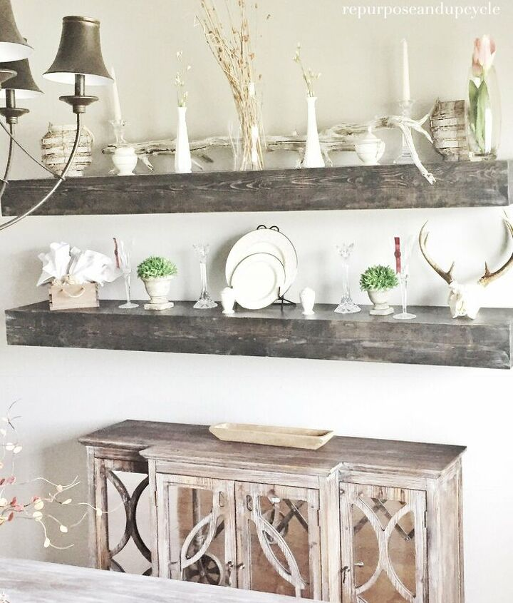s diy floating shelves ideas, Dining Room DIY Floating Solid Wood Shelves