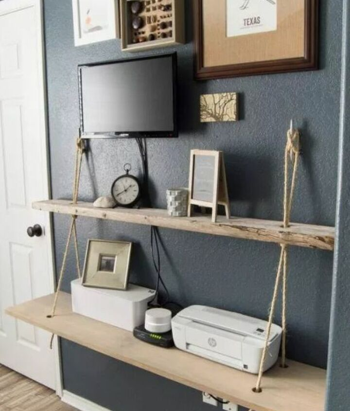 s diy floating shelves ideas, Floating Solid Wood Shelves with Rope