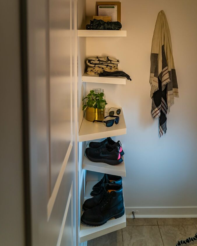 s diy floating shelves ideas, Geometric Floating Wood Shelves