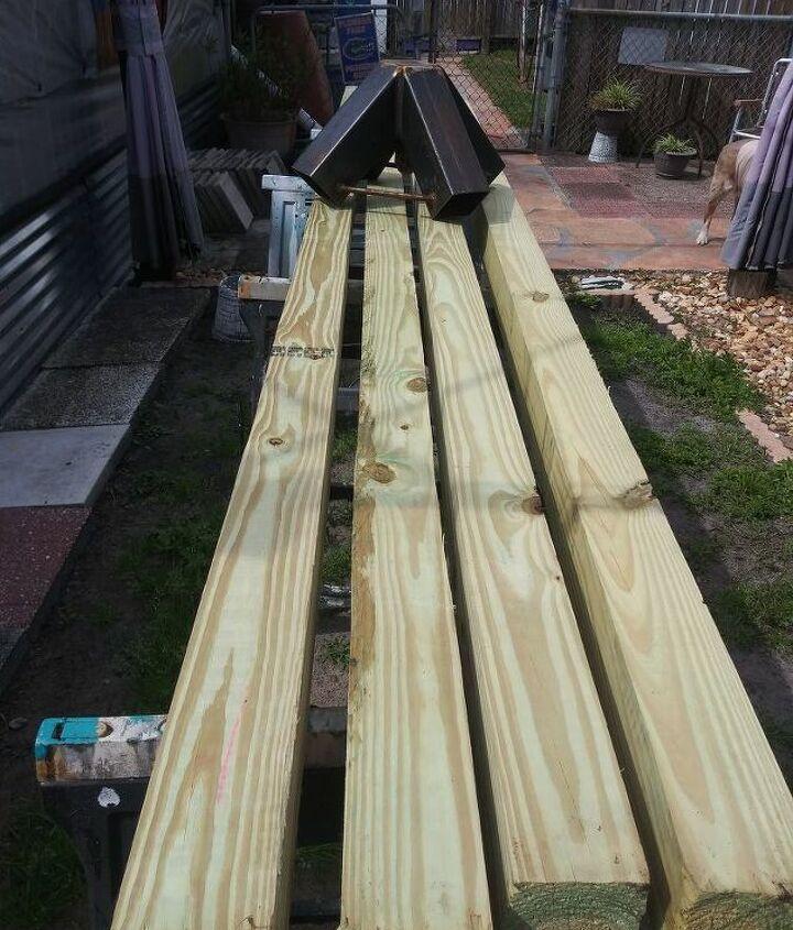 4 -   4x4x12 treated beams & free Bracket.