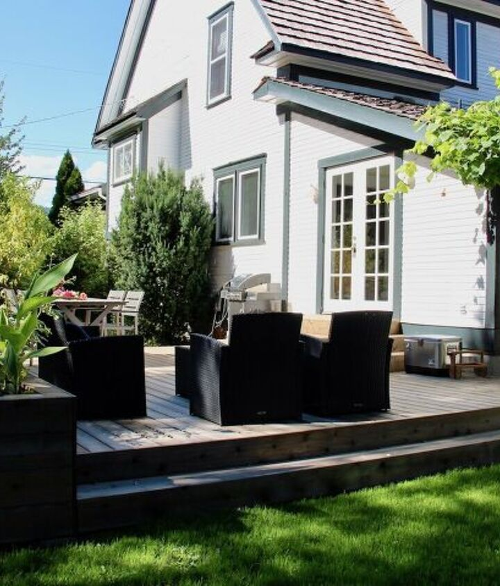 s diy raised garden bed ideas, Decking With Built In Raised Bed Planters
