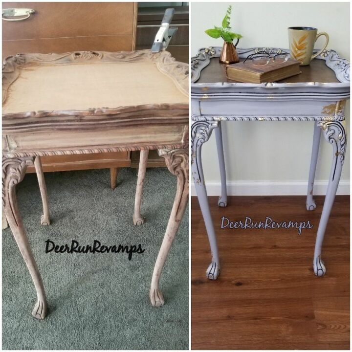 thrift store tab transformed with homemade chalky paint and gold leaf
