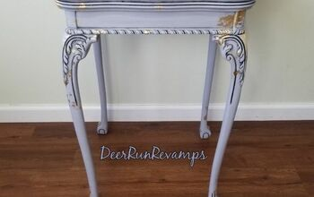 Thrift Store Table Transformed With Homemade Chalk Paint and Gold Leaf