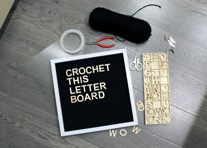 s diy letter board ideas, Build a Vintage Yarn Crocheted Letter Board