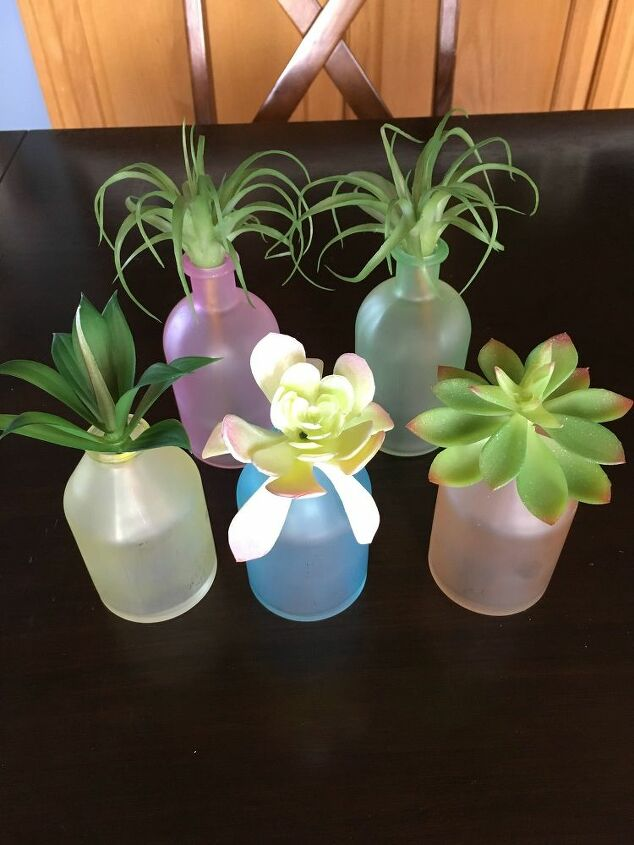 DIY Sea Glass Vases with Succulents