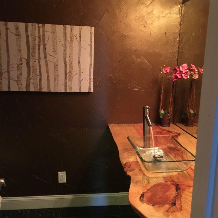 s wood slabs diy projects, Wood Slab Bathroom Counter