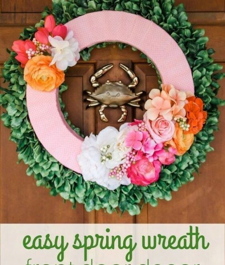 easy spring wreath front door decor