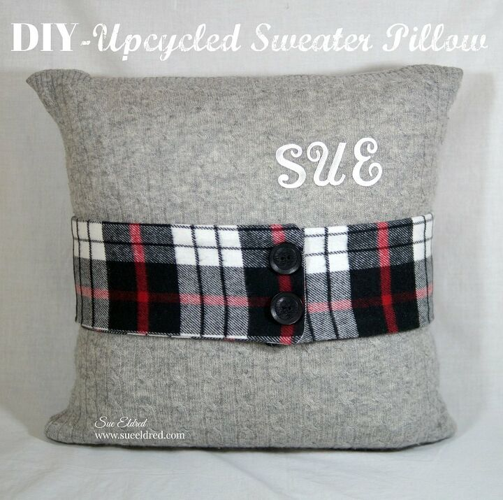 diy upcycled sweater pillow