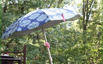Patio Umbrella Makeover, From a TableCloth
