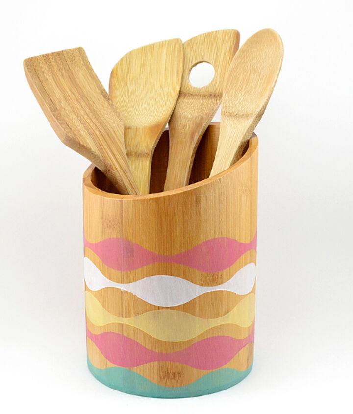 s 11 utensil holder ideas, A Stained Bamboo Utensil Holder