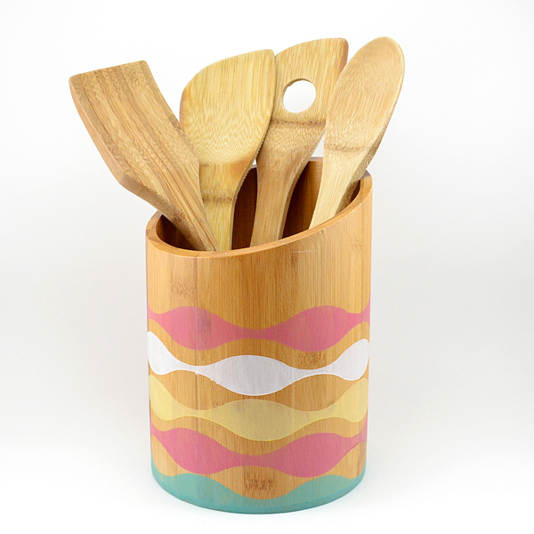 s 11 utensil holder ideas, A Stained Bamboo Utensil Holder