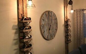 DIY Rustic Pulley Lights With Wine Rack