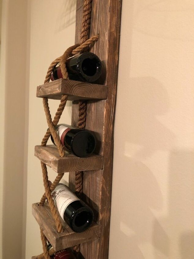 rustic pulley lights with wine rack