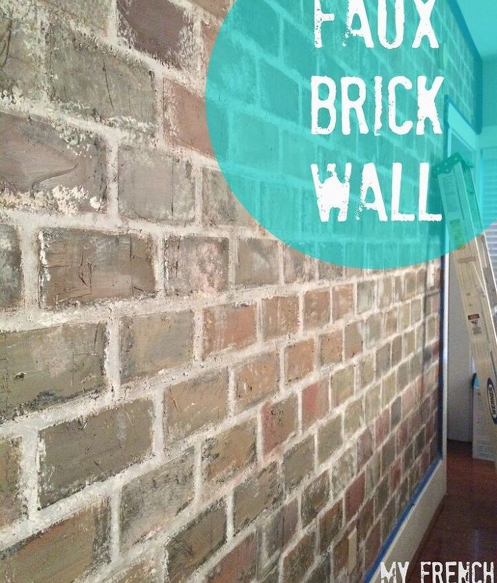 s diy faux brick wall projects, Tape Time Texture for an Old Brick Wall Look