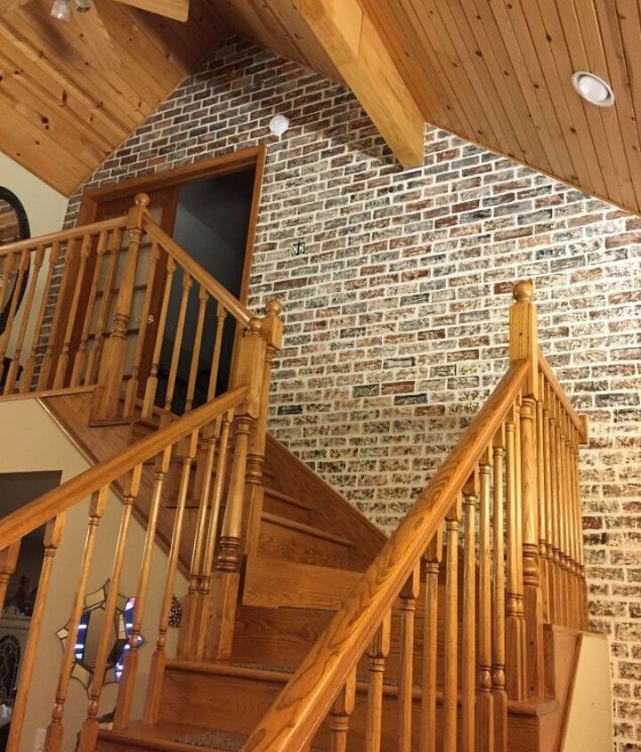 s diy faux brick wall projects, Try a Freehand Faux Brick Wall