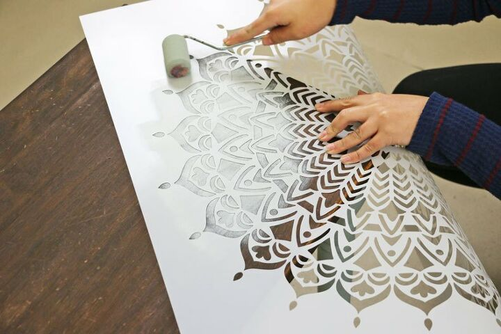 easily refurbish an old table with mandala stencils