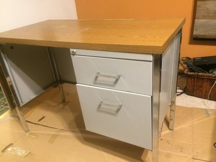 Ugly Desk Makeover In A Few Hours With Quick Veneer And Spray Paint
