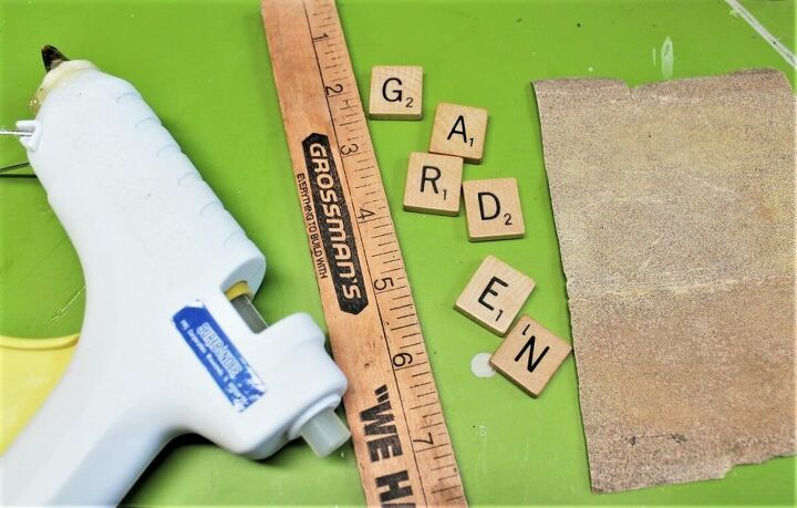 vintage scrabble tile garden markers