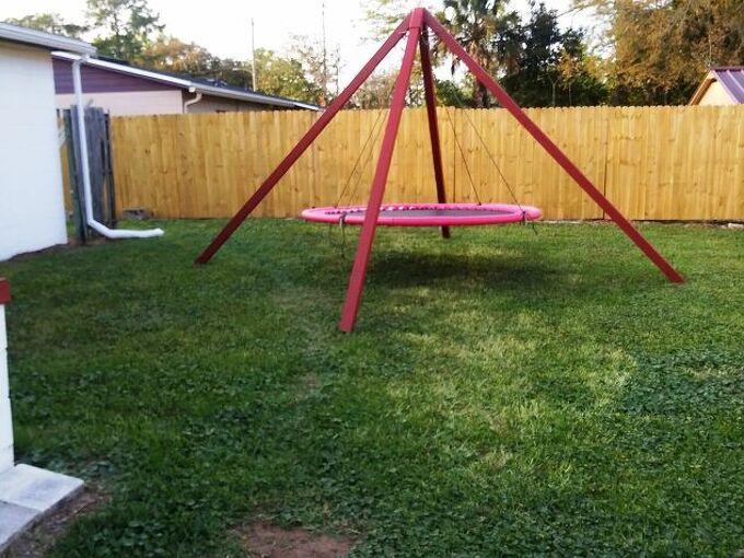 refurbished recycled trampoline swing