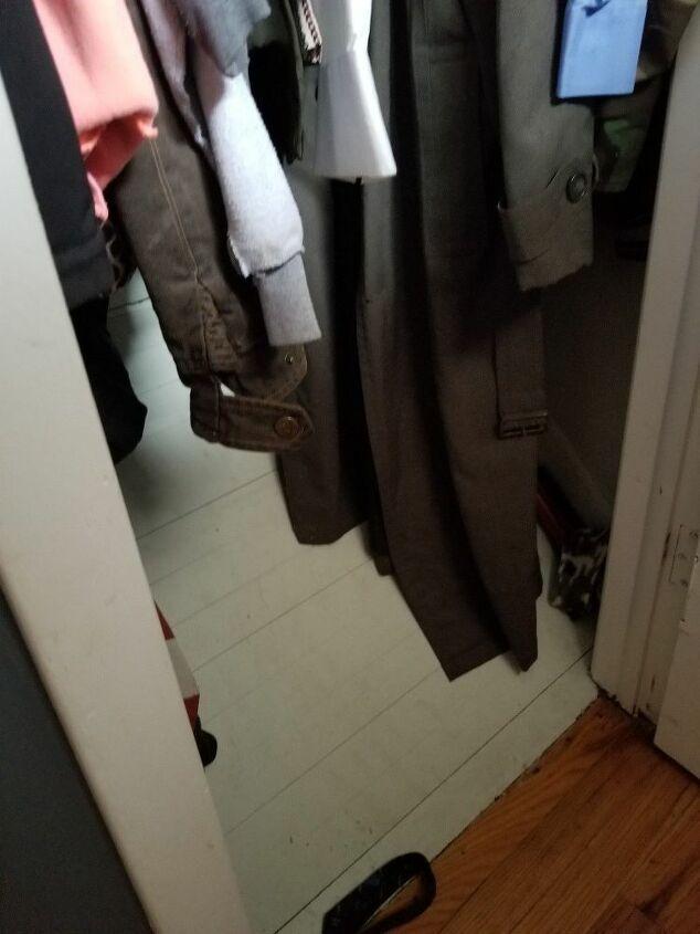 q maximumize space in slanted small coat closet